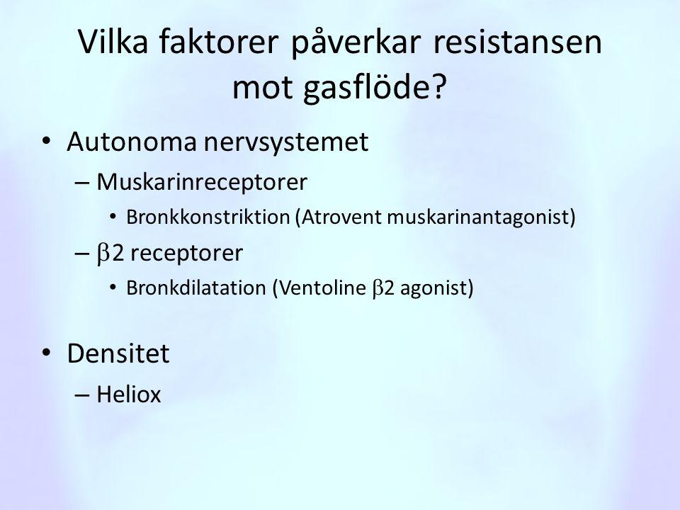 Vilka faktorer påverkar resistansen mot gasflöde? • Autonoma nervsystemet – Muskarinreceptorer • Bronkkonstriktion (Atrovent muskarinantagonist) –  2
