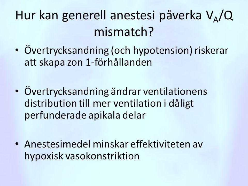 Hur kan generell anestesi påverka V A /Q mismatch? • Övertrycksandning (och hypotension) riskerar att skapa zon 1-förhållanden • Övertrycksandning änd