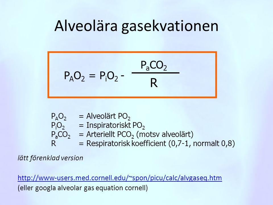 Alveolära gasekvationen lätt förenklad version http://www-users.med.cornell.edu/~spon/picu/calc/alvgaseq.htm (eller googla alveolar gas equation corne