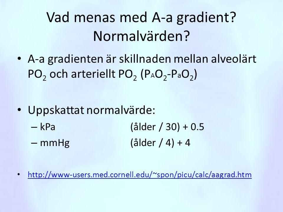 Vad menas med A-a gradient? Normalvärden? • A-a gradienten är skillnaden mellan alveolärt PO 2 och arteriellt PO 2 (P A O 2 -P a O 2 ) • Uppskattat no