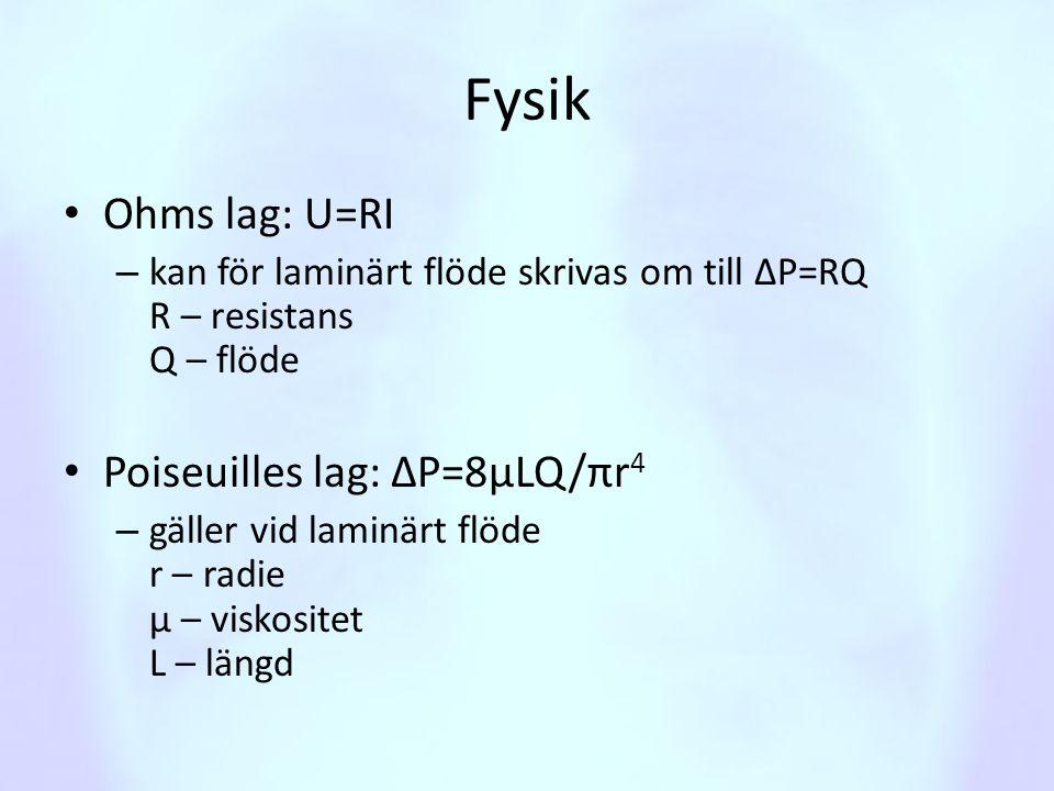 Fysik • Laplaces lag P=2T/r – Beskriver trycket som genereras av ytspänning i en bubbla – Kan appliceras på vätskefilm i alveoler T – ytspänning