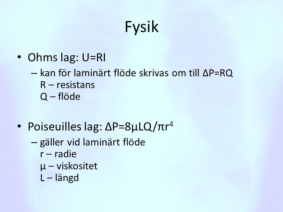 Beskriv de olika lungvolymerna • Tidalvolym (V T ) • Inspiratorisk reservvolym (IRV) • Exspiratorisk reservvolym (ERV) • Residualvolym (RV)