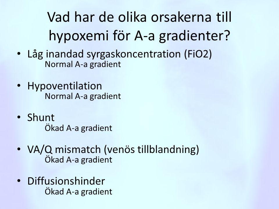 Vad har de olika orsakerna till hypoxemi för A-a gradienter? • Låg inandad syrgaskoncentration (FiO2) Normal A-a gradient • Hypoventilation Normal A-a