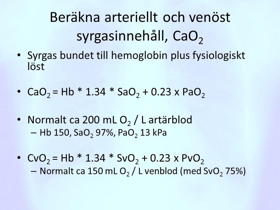 Beräkna arteriellt och venöst syrgasinnehåll, CaO 2 • Syrgas bundet till hemoglobin plus fysiologiskt löst • CaO 2 = Hb * 1.34 * SaO 2 + 0.23 x PaO 2