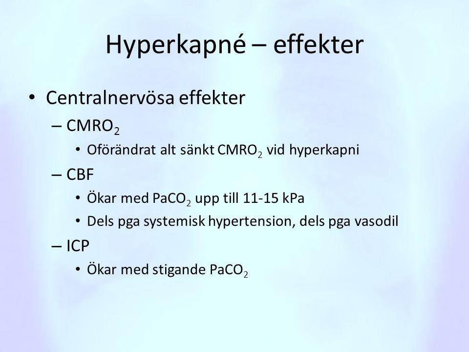 Hyperkapné – effekter • Centralnervösa effekter – CMRO 2 • Oförändrat alt sänkt CMRO 2 vid hyperkapni – CBF • Ökar med PaCO 2 upp till 11-15 kPa • Del