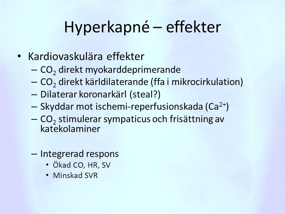 Hyperkapné – effekter • Kardiovaskulära effekter – CO 2 direkt myokarddeprimerande – CO 2 direkt kärldilaterande (ffa i mikrocirkulation) – Dilaterar