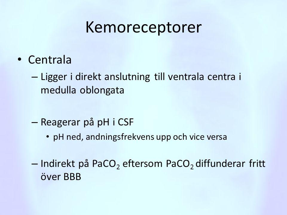 Kemoreceptorer • Centrala – Ligger i direkt anslutning till ventrala centra i medulla oblongata – Reagerar på pH i CSF • pH ned, andningsfrekvens upp