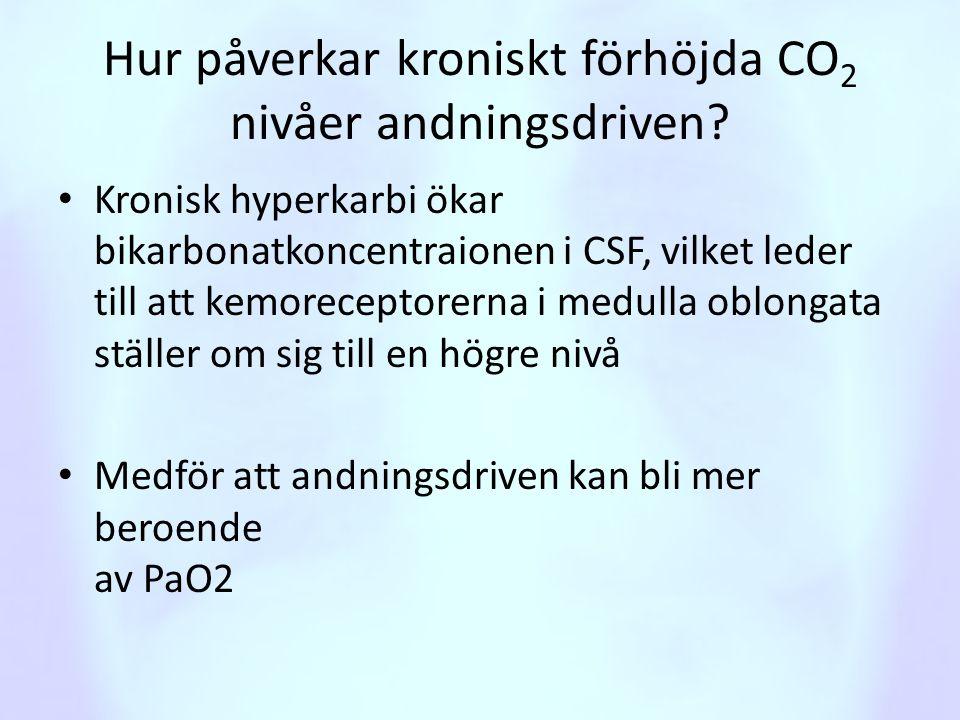 Hur påverkar kroniskt förhöjda CO 2 nivåer andningsdriven? • Kronisk hyperkarbi ökar bikarbonatkoncentraionen i CSF, vilket leder till att kemorecepto