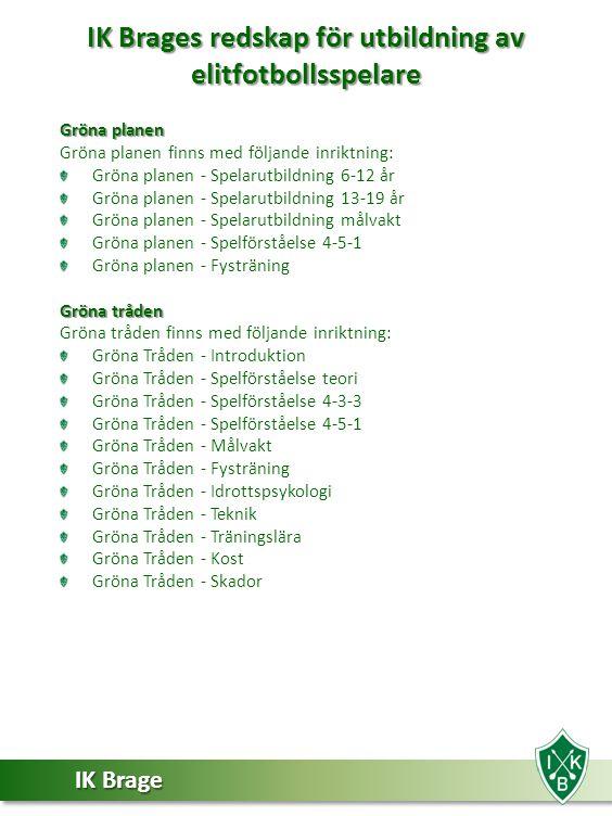 IK Brage IK Brages redskap för utbildning av elitfotbollsspelare Gröna planen Gröna planen finns med följande inriktning: Gröna planen - Spelarutbildn