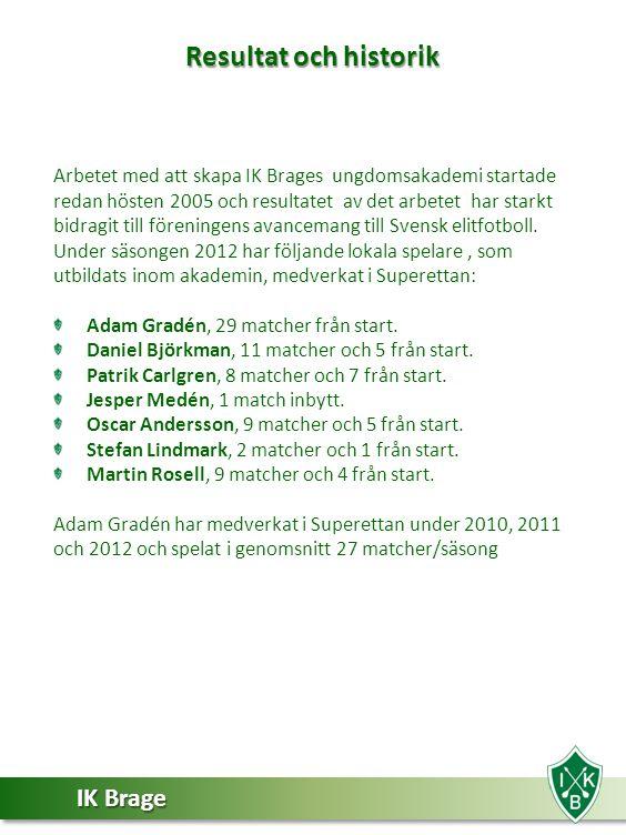 IK Brage Arbetet med att skapa IK Brages ungdomsakademi startade redan hösten 2005 och resultatet av det arbetet har starkt bidragit till föreningens