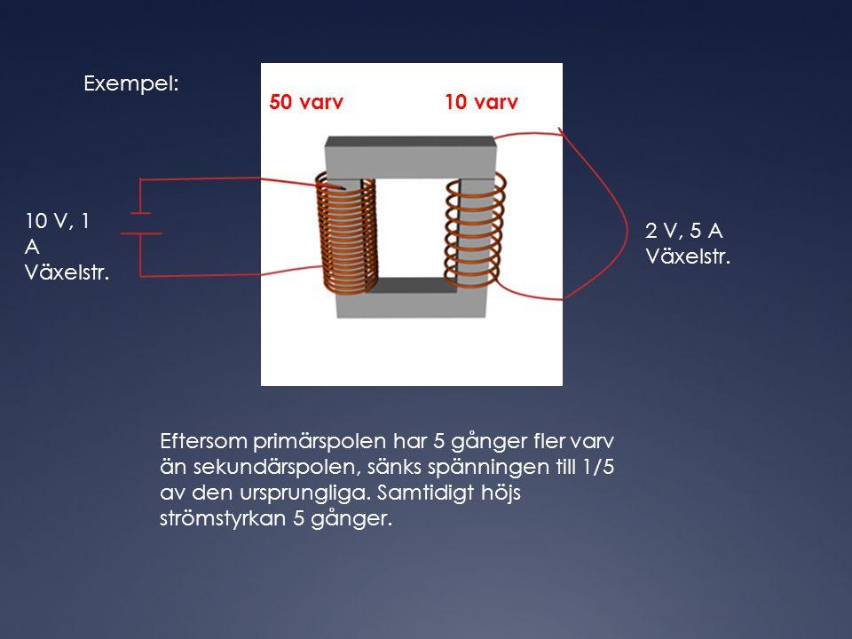 Exempel: 50 varv 10 varv 10 V, 1 A Växelstr. 2 V, 5 A Växelstr. Eftersom primärspolen har 5 gånger fler varv än sekundärspolen, sänks spänningen till