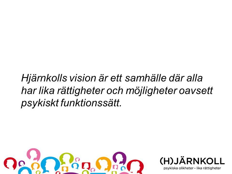 Hjärnkolls vision är ett samhälle där alla har lika rättigheter och möjligheter oavsett psykiskt funktionssätt.