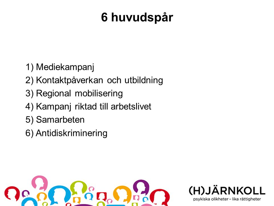 6 huvudspår 1) Mediekampanj 2) Kontaktpåverkan och utbildning 3) Regional mobilisering 4) Kampanj riktad till arbetslivet 5) Samarbeten 6) Antidiskriminering