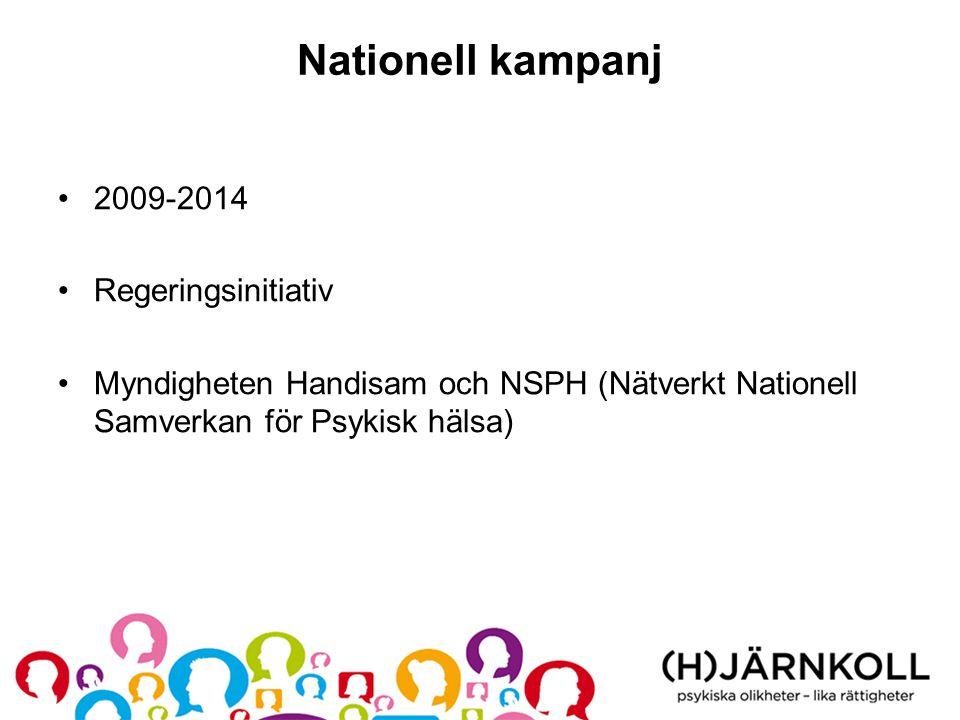Nationell kampanj •2009-2014 •Regeringsinitiativ •Myndigheten Handisam och NSPH (Nätverkt Nationell Samverkan för Psykisk hälsa)