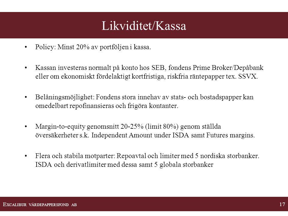 E XCALIBUR VÄRDEPAPPERSFOND AB 17 •Policy: Minst 20% av portföljen i kassa. •Kassan investeras normalt på konto hos SEB, fondens Prime Broker/Depåbank