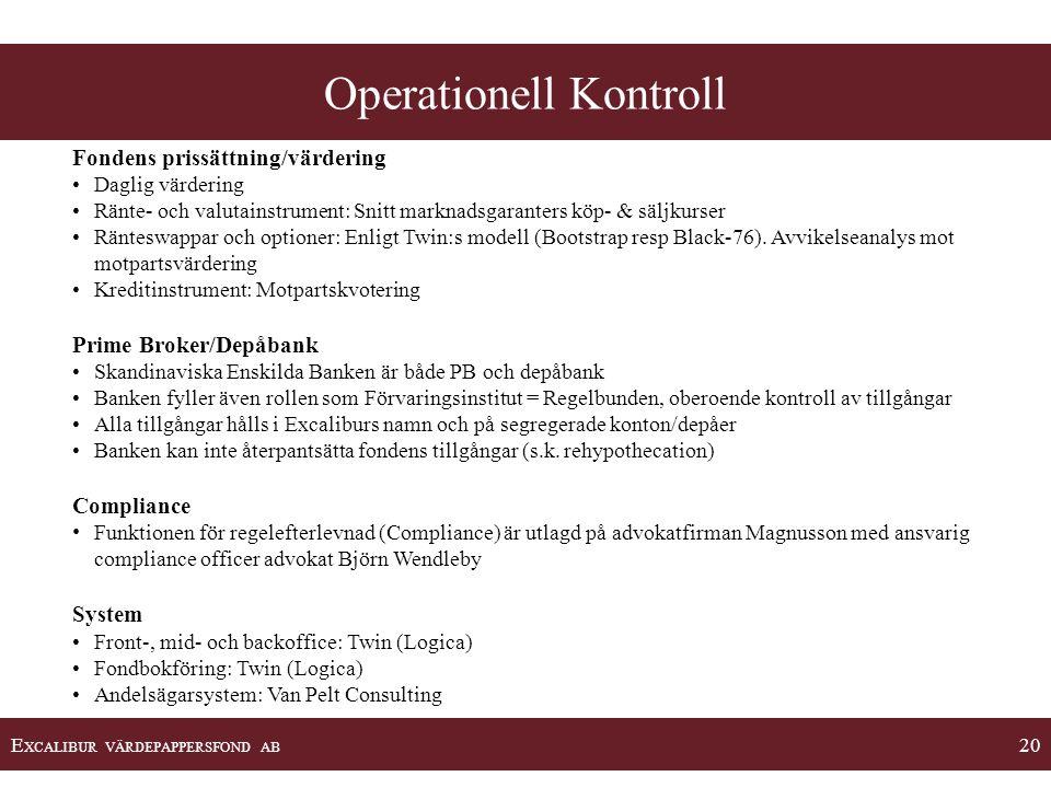 Operationell Kontroll E XCALIBUR VÄRDEPAPPERSFOND AB 20 Fondens prissättning/värdering •Daglig värdering •Ränte- och valutainstrument: Snitt marknadsg
