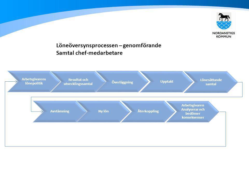 Löneöversynsprocessen – genomförande Samtal chef-medarbetare Arbetsgivaren Analyserar och bedömer konsekvenser Arbetsgivarens lönepolitik Resultat och