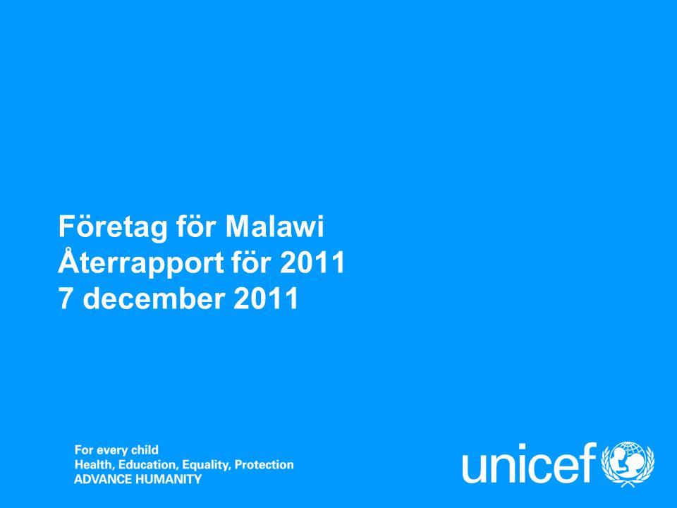 Företag för Malawi  UNICEF Sverige har tillsammans med Företag för Malawi sedan 2006 stött ett pilotprojekt som bygger upp och stärker det sociala skyddsnätet, genom att utöka tillgången till hälsovård, vatten och sanitet och utbildning i sex distrikt i Malawi.