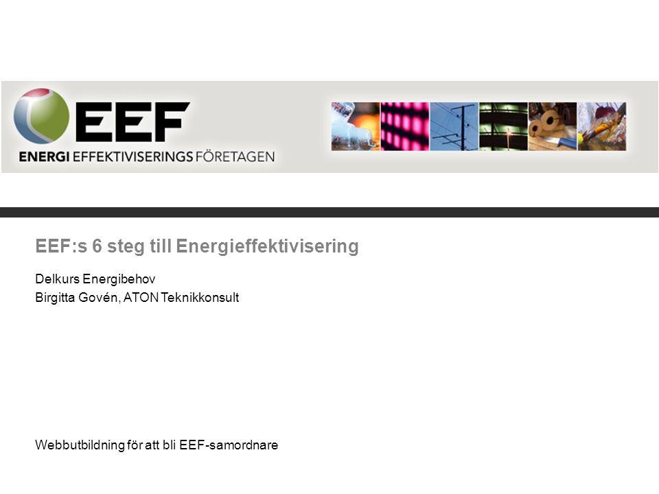 EEF:s 6 steg till Energieffektivisering Delkurs Energibehov Birgitta Govén, ATON Teknikkonsult Webbutbildning för att bli EEF-samordnare