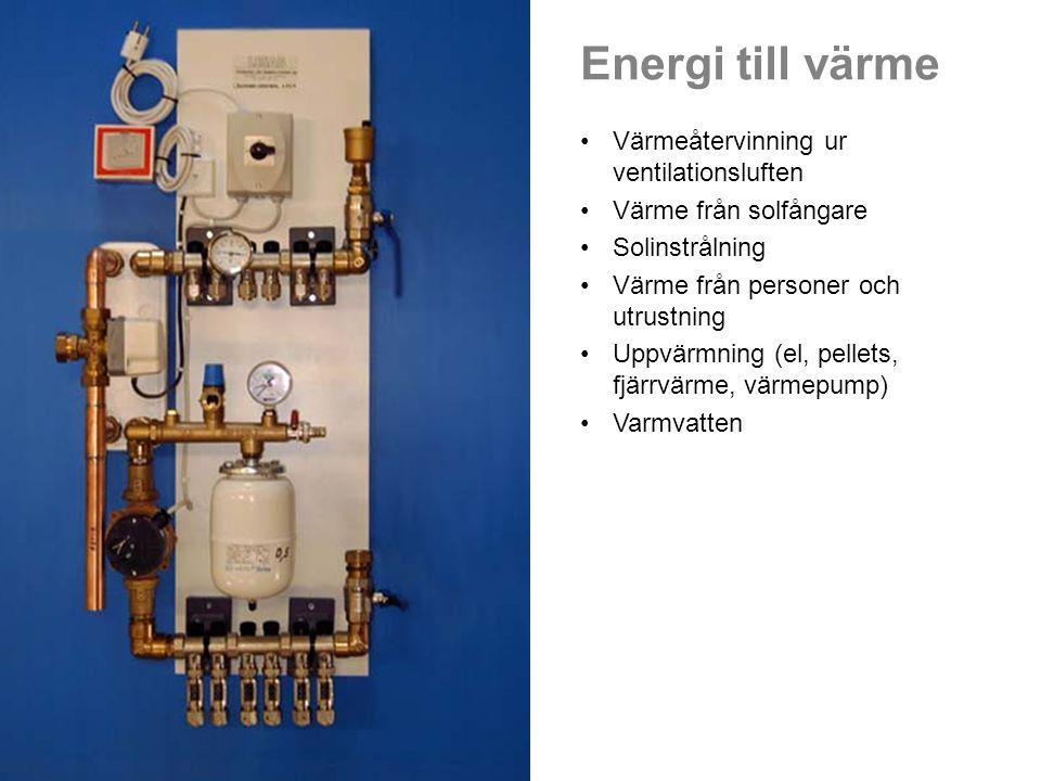 Energi till värme •Värmeåtervinning ur ventilationsluften •Värme från solfångare •Solinstrålning •Värme från personer och utrustning •Uppvärmning (el,