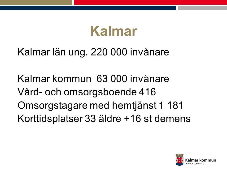 Kalmar Kalmar län ung. 220 000 invånare Kalmar kommun 63 000 invånare Vård- och omsorgsboende 416 Omsorgstagare med hemtjänst 1 181 Korttidsplatser 33