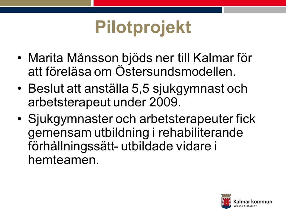 Pilotprojekt •Marita Månsson bjöds ner till Kalmar för att föreläsa om Östersundsmodellen. •Beslut att anställa 5,5 sjukgymnast och arbetsterapeut und