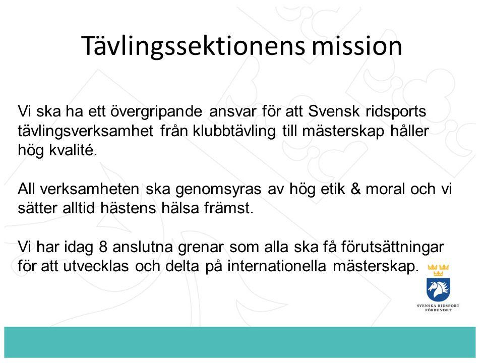 Tävlingssektionens mission Vi ska ha ett övergripande ansvar för att Svensk ridsports tävlingsverksamhet från klubbtävling till mästerskap håller hög kvalité.