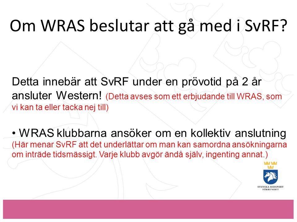 Om WRAS beslutar att gå med i SvRF.