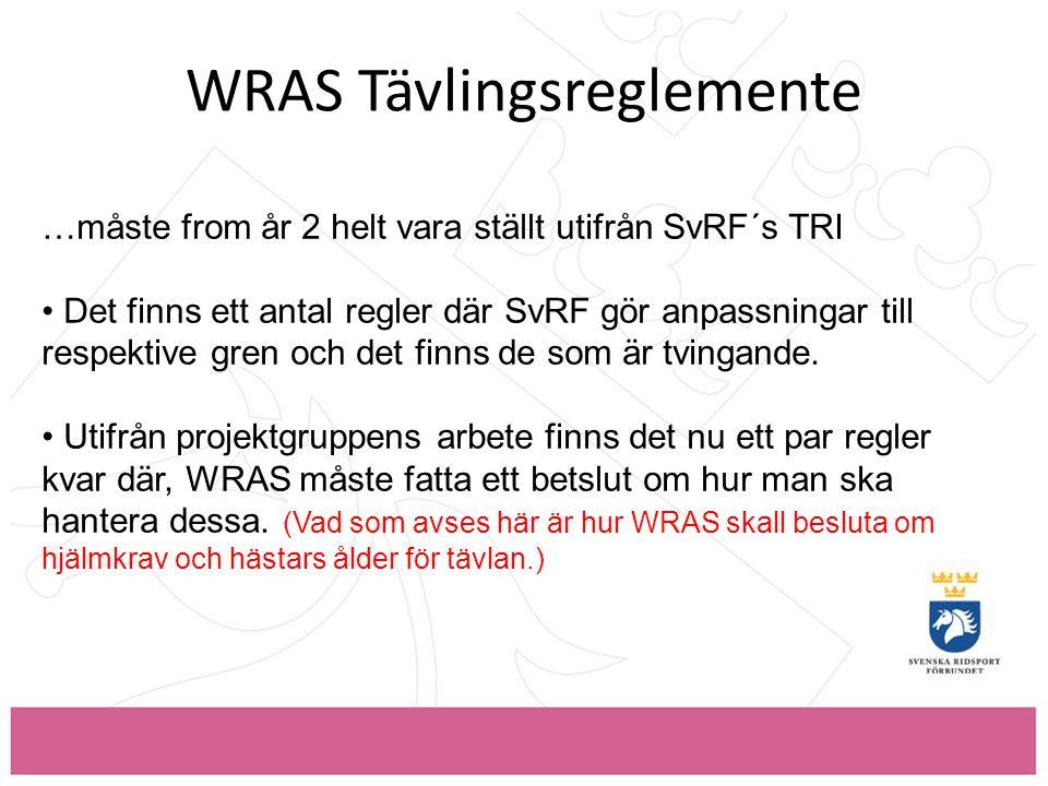 WRAS Tävlingsreglemente …måste from år 2 helt vara ställt utifrån SvRF´s TRI • Det finns ett antal regler där SvRF gör anpassningar till respektive gren och det finns de som är tvingande.