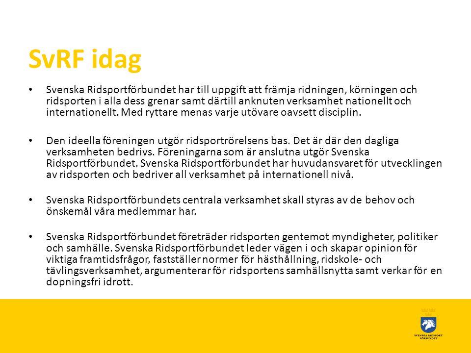 SvRF idag • Svenska Ridsportförbundet har till uppgift att främja ridningen, körningen och ridsporten i alla dess grenar samt därtill anknuten verksamhet nationellt och internationellt.