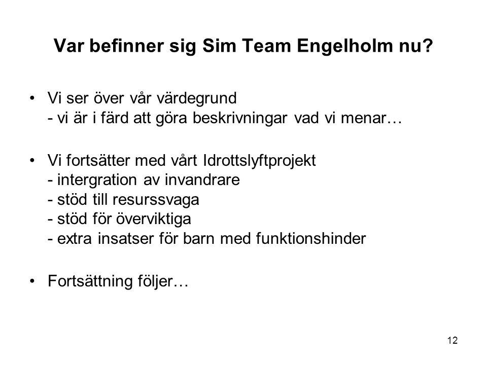 Var befinner sig Sim Team Engelholm nu? •Vi ser över vår värdegrund - vi är i färd att göra beskrivningar vad vi menar… •Vi fortsätter med vårt Idrott