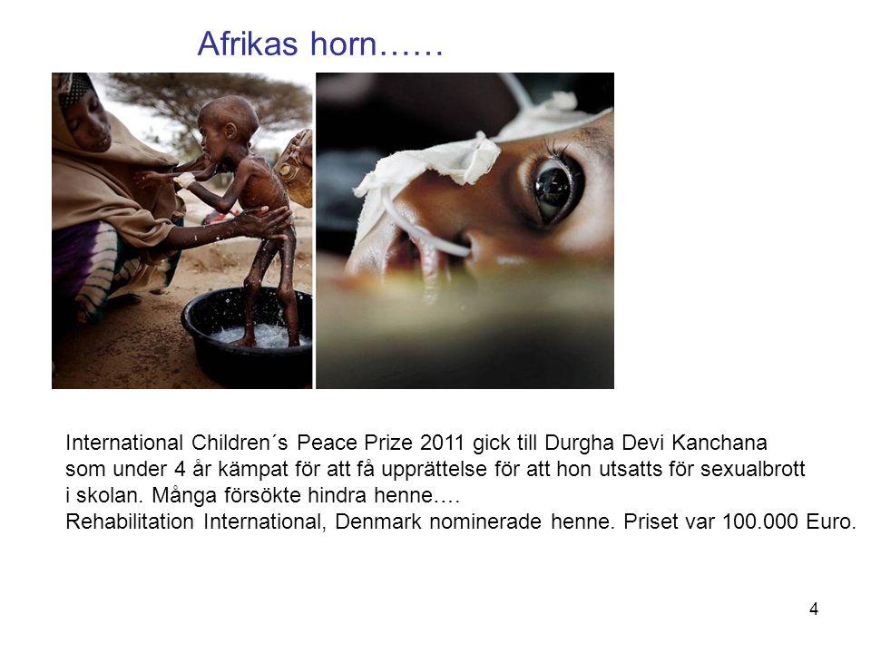 Afrikas horn…… International Children´s Peace Prize 2011 gick till Durgha Devi Kanchana som under 4 år kämpat för att få upprättelse för att hon utsat