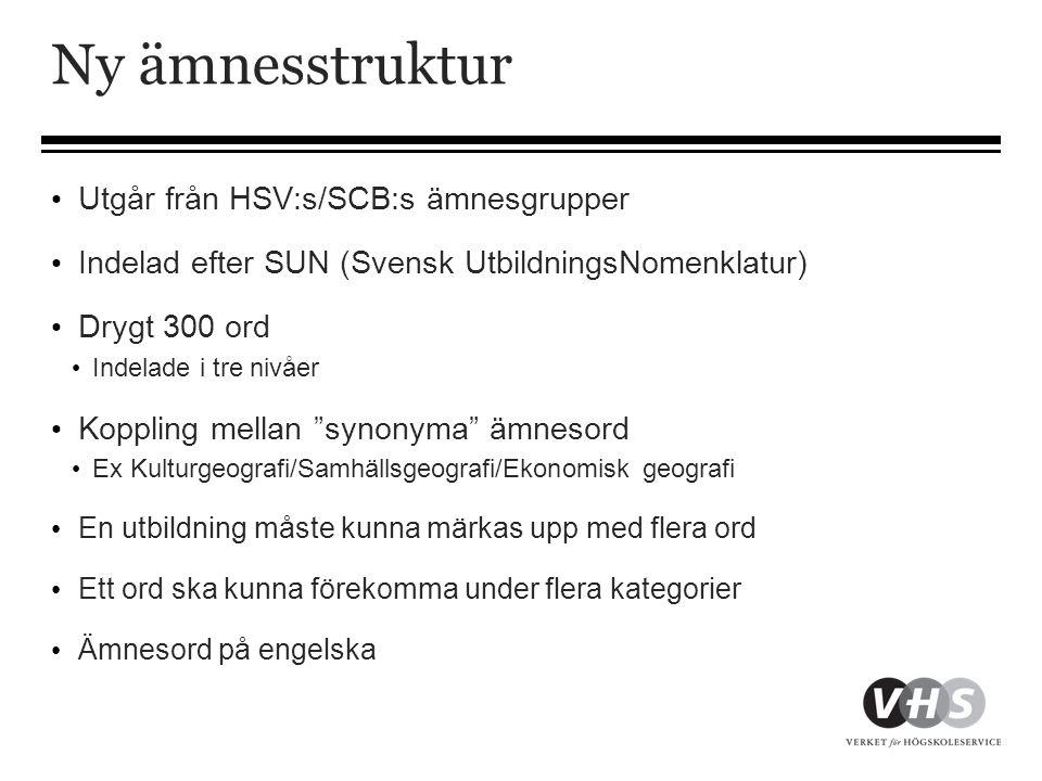 Ny ämnesstruktur • Utgår från HSV:s/SCB:s ämnesgrupper • Indelad efter SUN (Svensk UtbildningsNomenklatur) • Drygt 300 ord • Indelade i tre nivåer • K