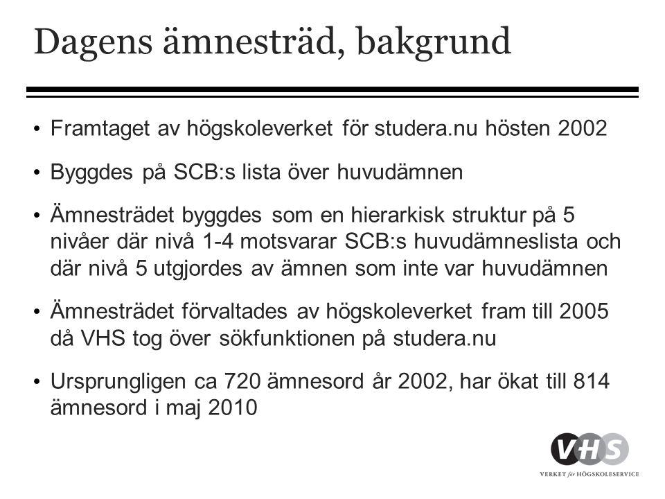 Dagens ämnesträd, bakgrund • Framtaget av högskoleverket för studera.nu hösten 2002 • Byggdes på SCB:s lista över huvudämnen • Ämnesträdet byggdes som