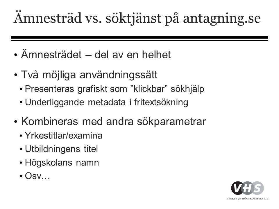 """Ämnesträd vs. söktjänst på antagning.se • Ämnesträdet – del av en helhet • Två möjliga användningssätt • Presenteras grafiskt som """"klickbar"""" sökhjälp"""