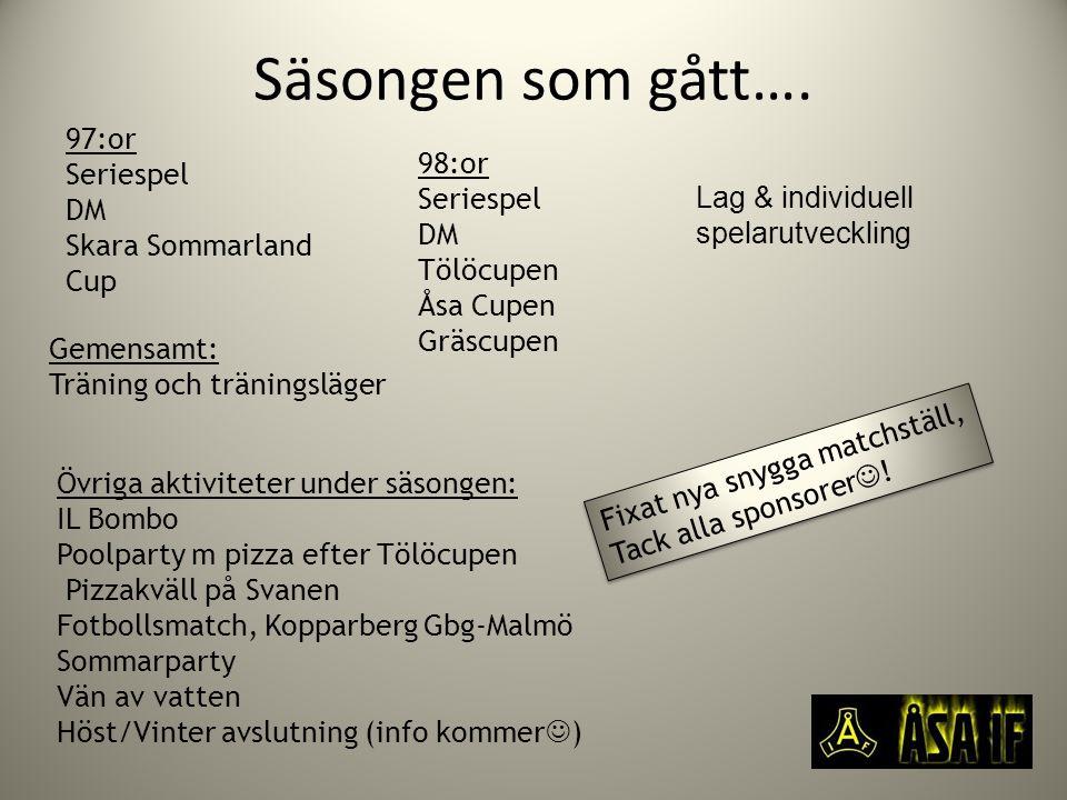Säsongen som gått…. 97:or Seriespel DM Skara Sommarland Cup 98:or Seriespel DM Tölöcupen Åsa Cupen Gräscupen Övriga aktiviteter under säsongen: IL Bom