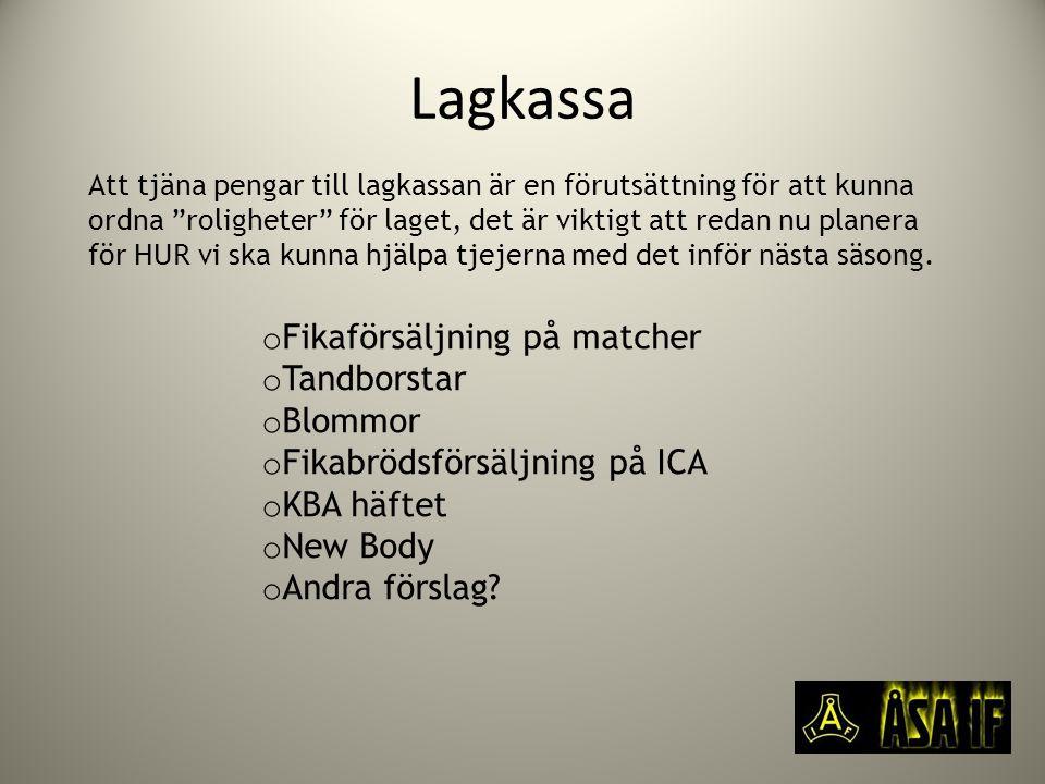 Lagkassa o Fikaförsäljning på matcher o Tandborstar o Blommor o Fikabrödsförsäljning på ICA o KBA häftet o New Body o Andra förslag.