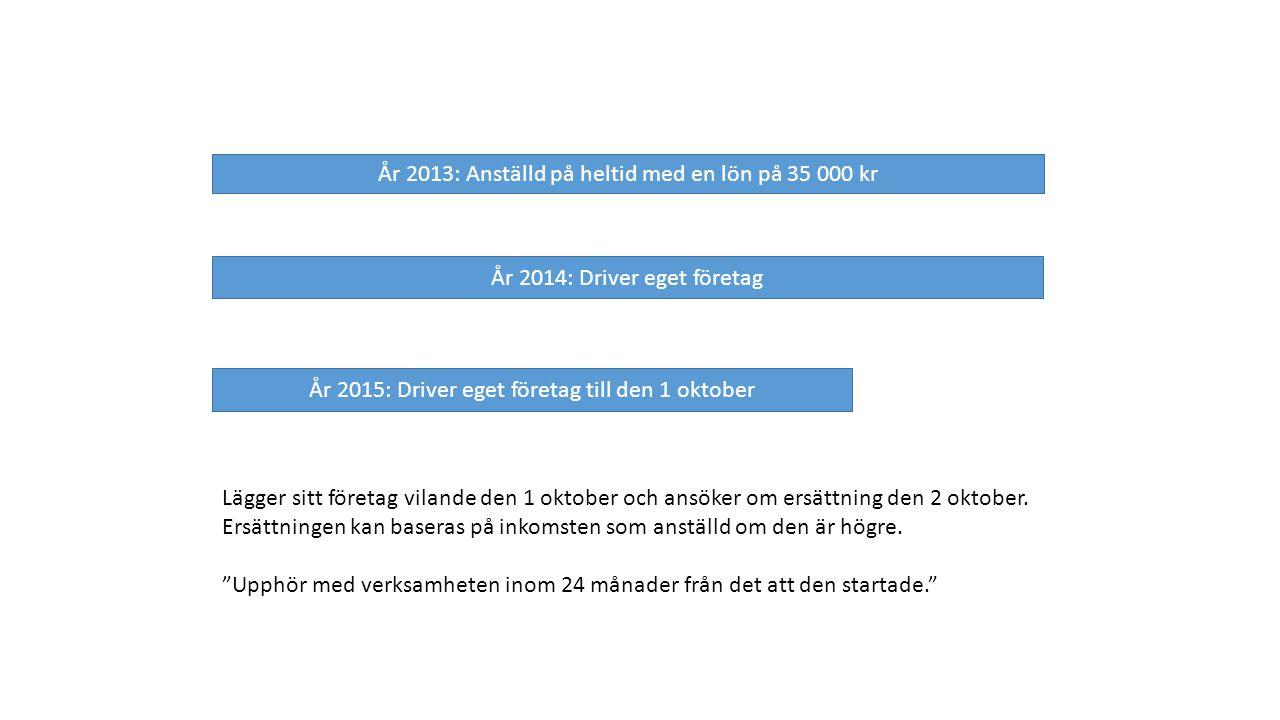År 2013: Anställd på heltid med en lön på 35 000 kr År 2014: Driver eget företag År 2015: Driver eget företag till den 1 oktober Lägger sitt företag vilande den 1 oktober och ansöker om ersättning den 2 oktober.