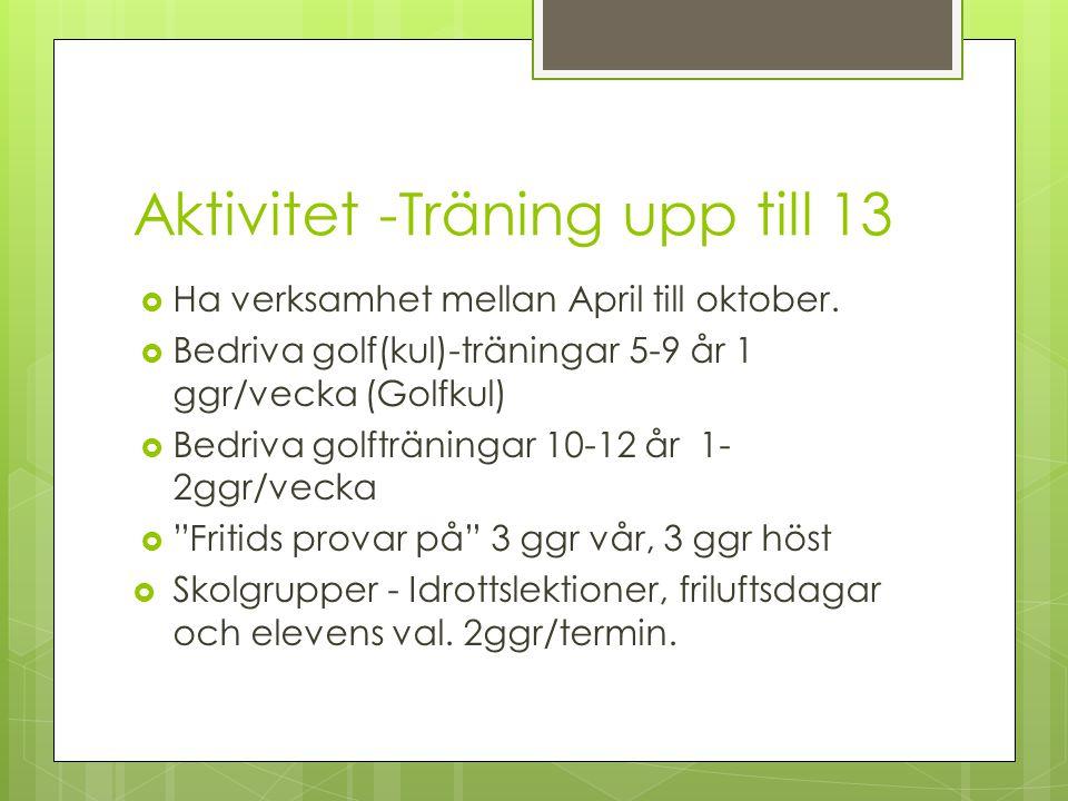 Aktivitet -Träning upp till 13  Ha verksamhet mellan April till oktober.  Bedriva golf(kul)-träningar 5-9 år 1 ggr/vecka (Golfkul)  Bedriva golfträ