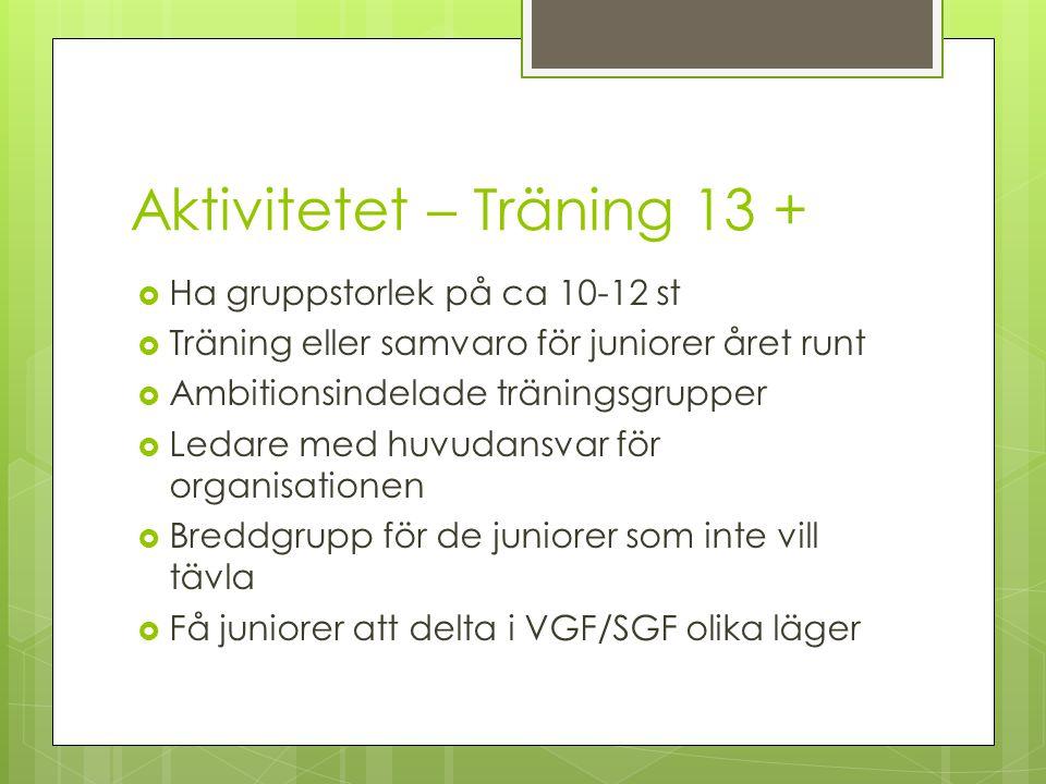 Aktivitetet – Träning 13 +  Ha gruppstorlek på ca 10-12 st  Träning eller samvaro för juniorer året runt  Ambitionsindelade träningsgrupper  Ledar