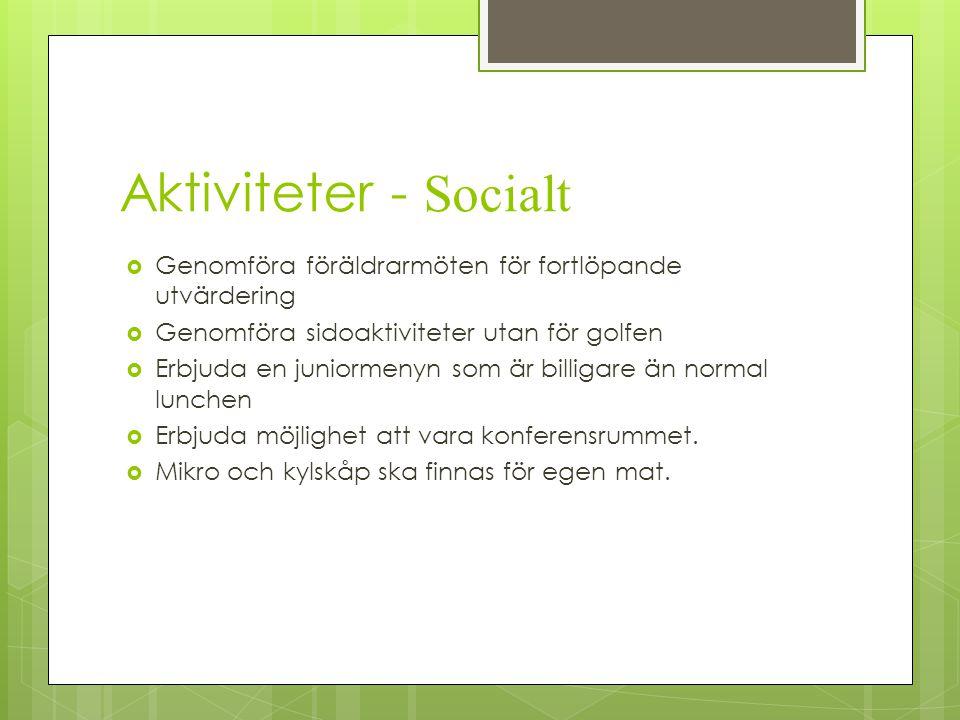 Aktiviteter - Socialt  Genomföra föräldrarmöten för fortlöpande utvärdering  Genomföra sidoaktiviteter utan för golfen  Erbjuda en juniormenyn som
