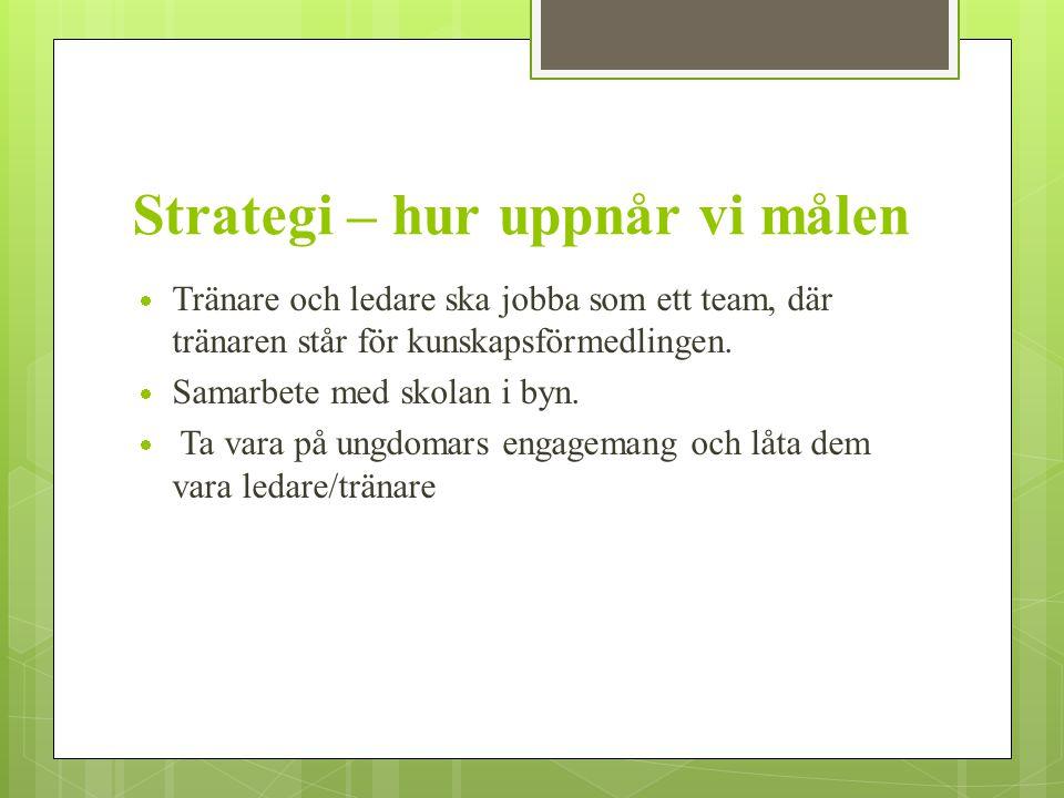 Strategi – hur uppnår vi målen  Tränare och ledare ska jobba som ett team, där tränaren står för kunskapsförmedlingen.  Samarbete med skolan i byn.
