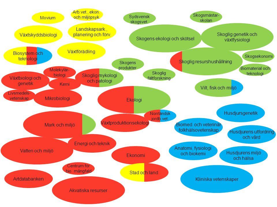 Vilt, fisk och miljö Mark och miljö Skoglig resurshushållning Biosystem och teknologi Biosystem och teknologi Landskapsark., planering och förv. Växts