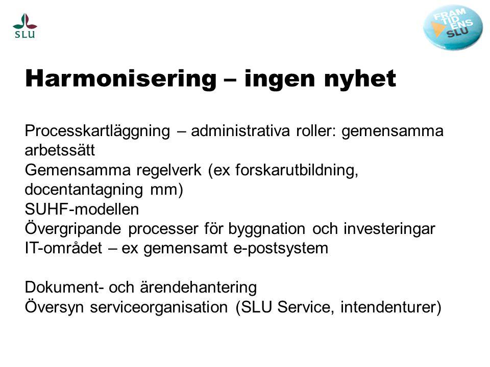 Harmonisering – ingen nyhet Processkartläggning – administrativa roller: gemensamma arbetssätt Gemensamma regelverk (ex forskarutbildning, docentantag