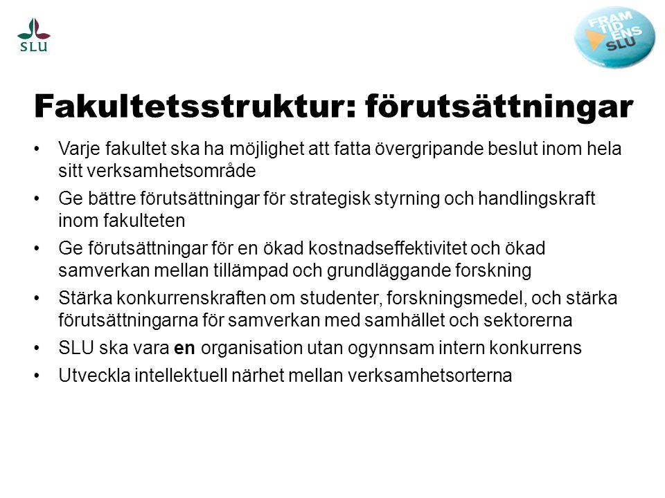 Fakultetsstruktur: förutsättningar •Varje fakultet ska ha möjlighet att fatta övergripande beslut inom hela sitt verksamhetsområde •Ge bättre förutsät