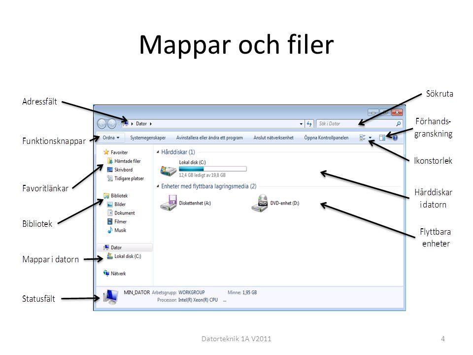 Mappar och filer Datorteknik 1A V20114