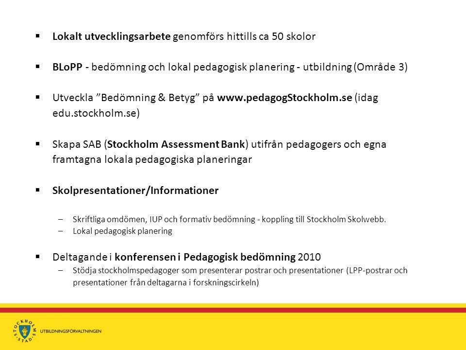  Lokalt utvecklingsarbete genomförs hittills ca 50 skolor  BLoPP - bedömning och lokal pedagogisk planering - utbildning (Område 3)  Utveckla Bedömning & Betyg på www.pedagogStockholm.se (idag edu.stockholm.se)  Skapa SAB (Stockholm Assessment Bank) utifrån pedagogers och egna framtagna lokala pedagogiska planeringar  Skolpresentationer/Informationer –Skriftliga omdömen, IUP och formativ bedömning - koppling till Stockholm Skolwebb.