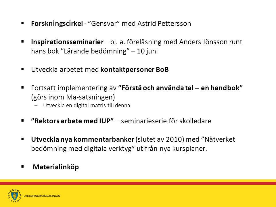  Forskningscirkel - Gensvar med Astrid Pettersson  Inspirationsseminarier – bl.