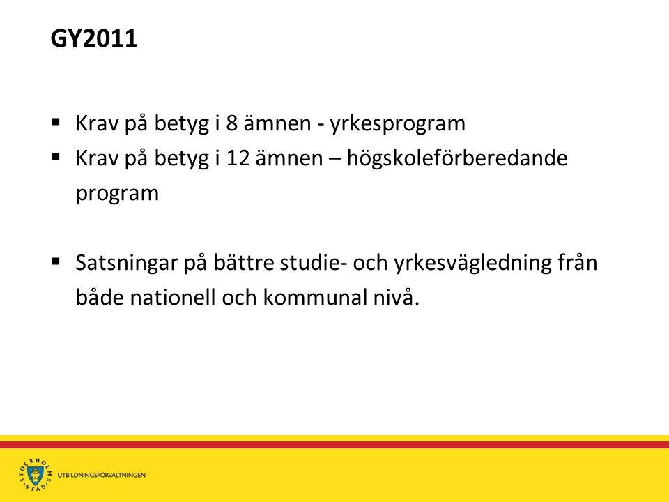 GY2011  Krav på betyg i 8 ämnen - yrkesprogram  Krav på betyg i 12 ämnen – högskoleförberedande program  Satsningar på bättre studie- och yrkesvägledning från både nationell och kommunal nivå.