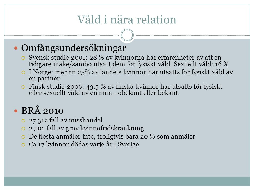  Omfångsundersökningar  Svensk studie 2001: 28 % av kvinnorna har erfarenheter av att en tidigare make/sambo utsatt dem för fysiskt våld.